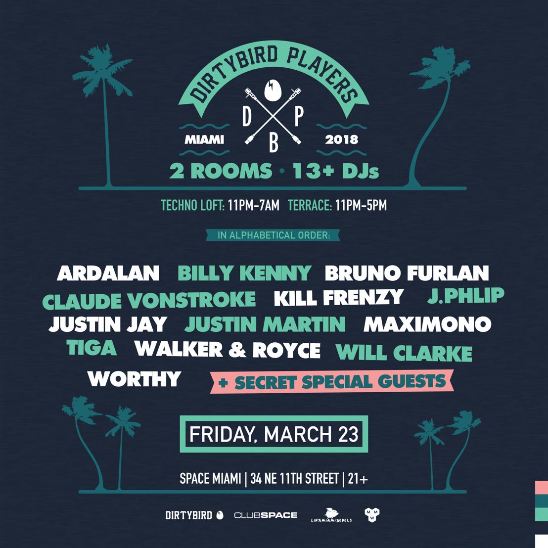 NEWS: DIRTYBIRD Players Takeover Club Space Miami w/ Claude VonStroke, Tiga, Justin Martin, Walker & Royce, et al.