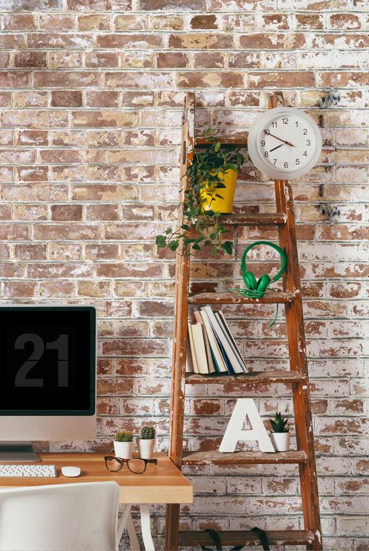 White Painted Brick Wallpaper