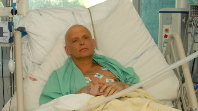 Alexander Litvinenko dying of radiation poisoning in a London hospital