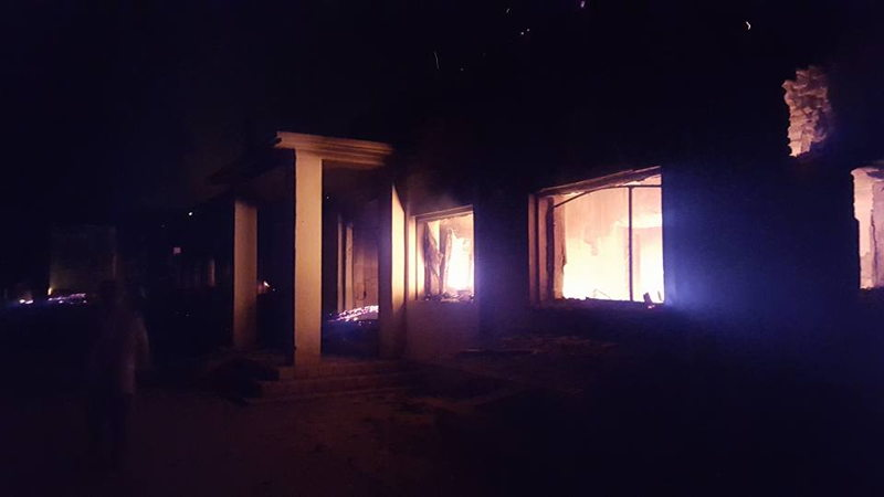 Back of hospital during attack 2 (photo credit: MSF)
