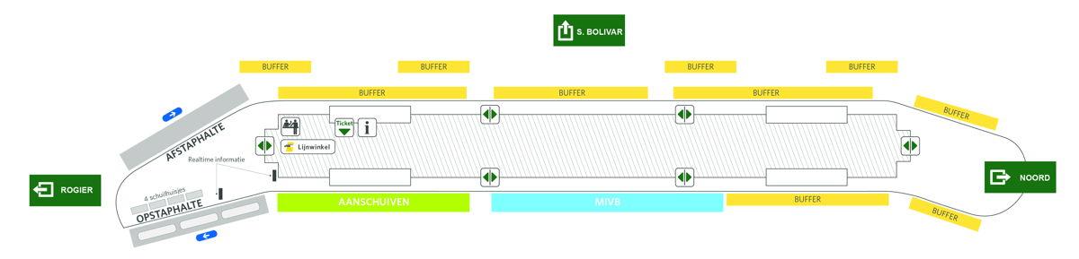 Nieuwe busstation Brussel Noord: 2 instap- en uitstaphaltes aan de zijkant (links) van het station.