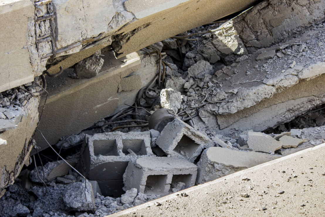 An explosive device found by residents underneath rubble. Al Mishlab, east of Raqqa city, 7 November 2017. Credit MSF/Diala Ghassan