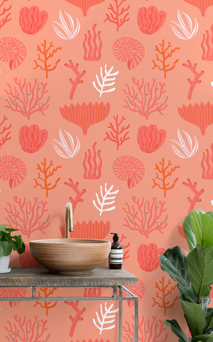 Living Coral wall mural celebrates Pantone's Colour of the Year 2019