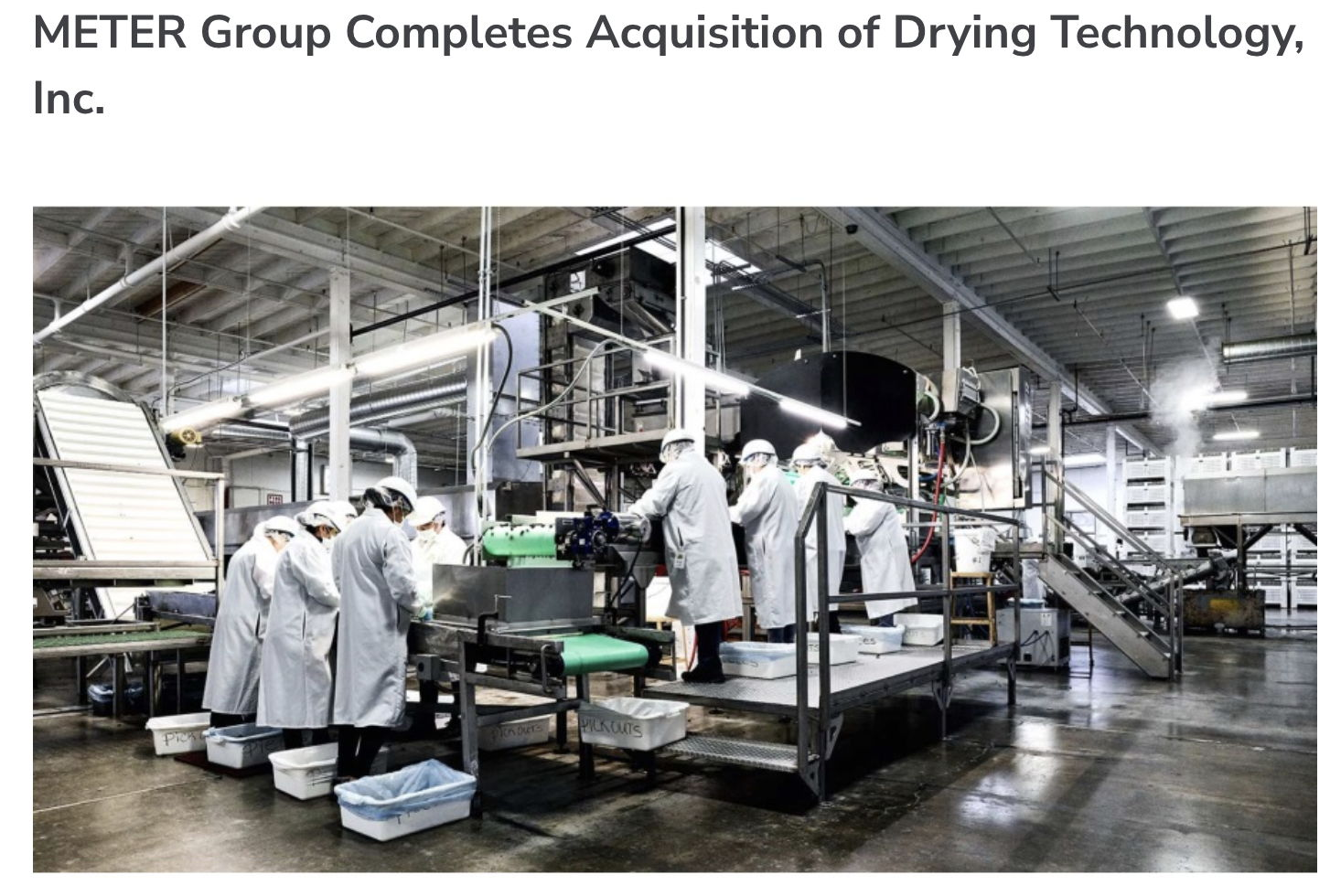 Food Safety Magazine: METER Group Completes Acquisition of Drying Technology, Inc.