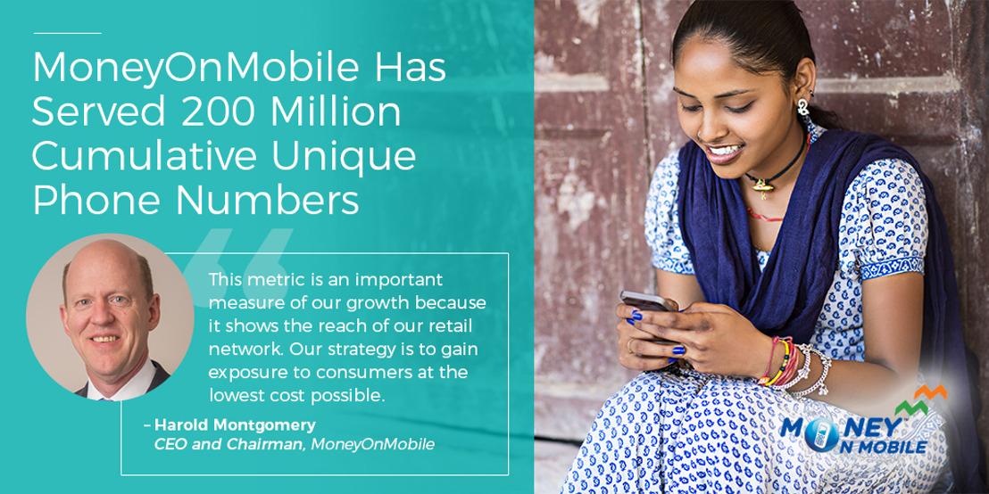 MoneyOnMobile Has Served 200 Million Cumulative Unique Phone Numbers