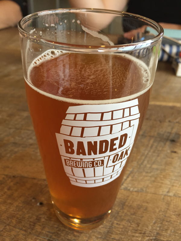 Pint of Banded Oak's Hirakata Farms Crenshaw Melon IPA