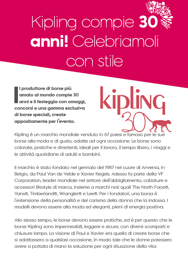 Kipling hanno compiuto 30 anni!
