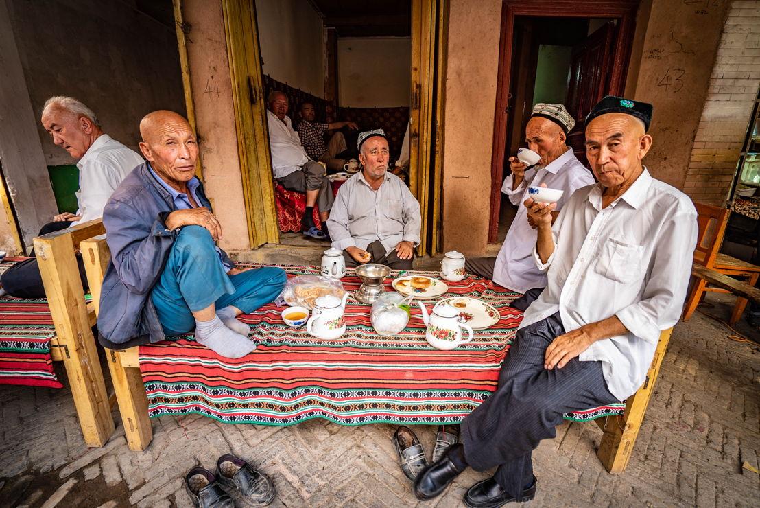 Tea time Kashgar. Pic credit Brant Cumming