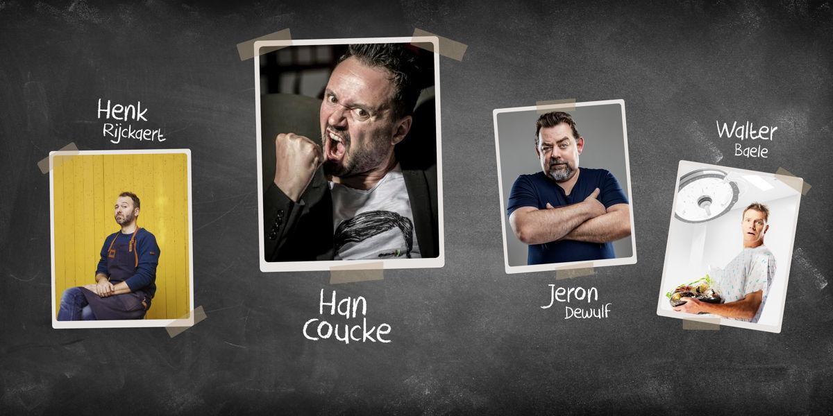 Han Coucke, Henk Rijckaert, Jeron Dewulf en Walter Baele als docenten voor De Humorklas 2020 © Radio 2