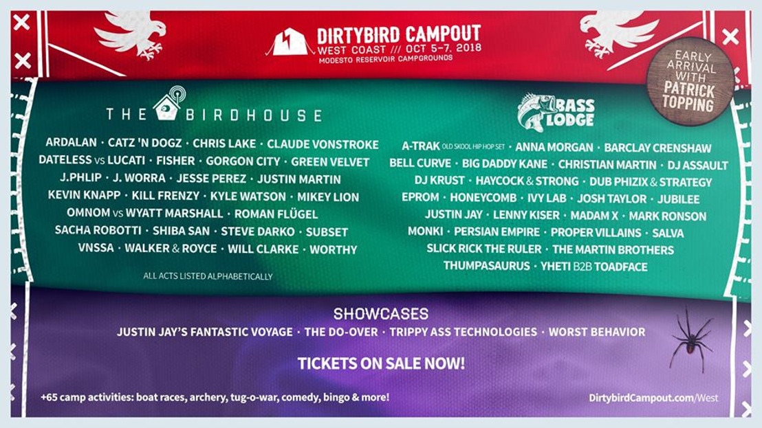 DIRTYBIRD Campout Releases Phase Two Lineup for 2018 West Coast Event Featuring Ivy Lab, Kyle Watson, Sacha Robotti