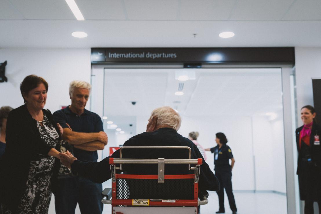 David saying goodbye to his daughter at Perth Airport