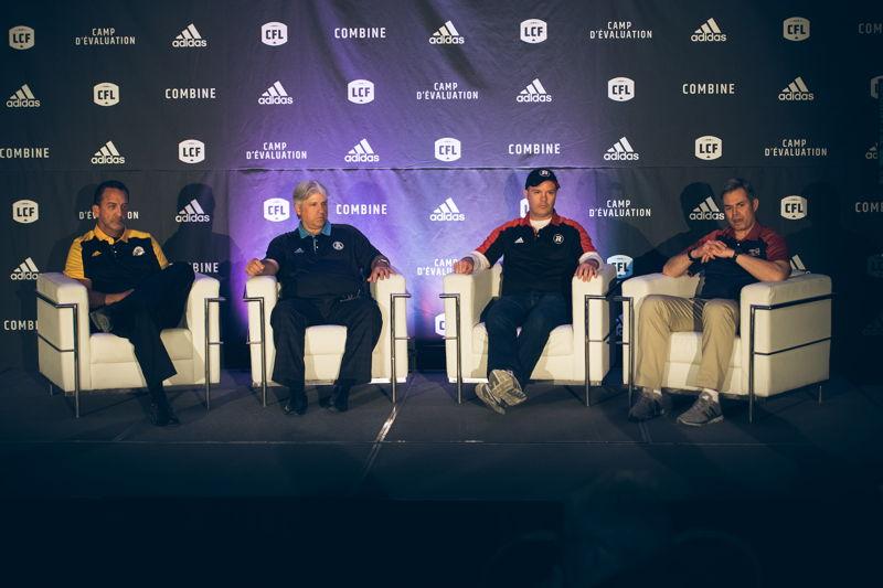 Des entraîneurs et des directeurs généraux de la division Est lors de la conférence de presse des opérations football. Crédit : Johany Jutras/LCF