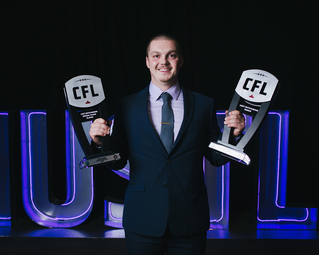 Lewis Ward, Most Outstanding Rookie & Most Outstanding Special Teams Player at the 2018 Shaw CFL Awards. Photo credit: Johany Jutras/CFL.ca