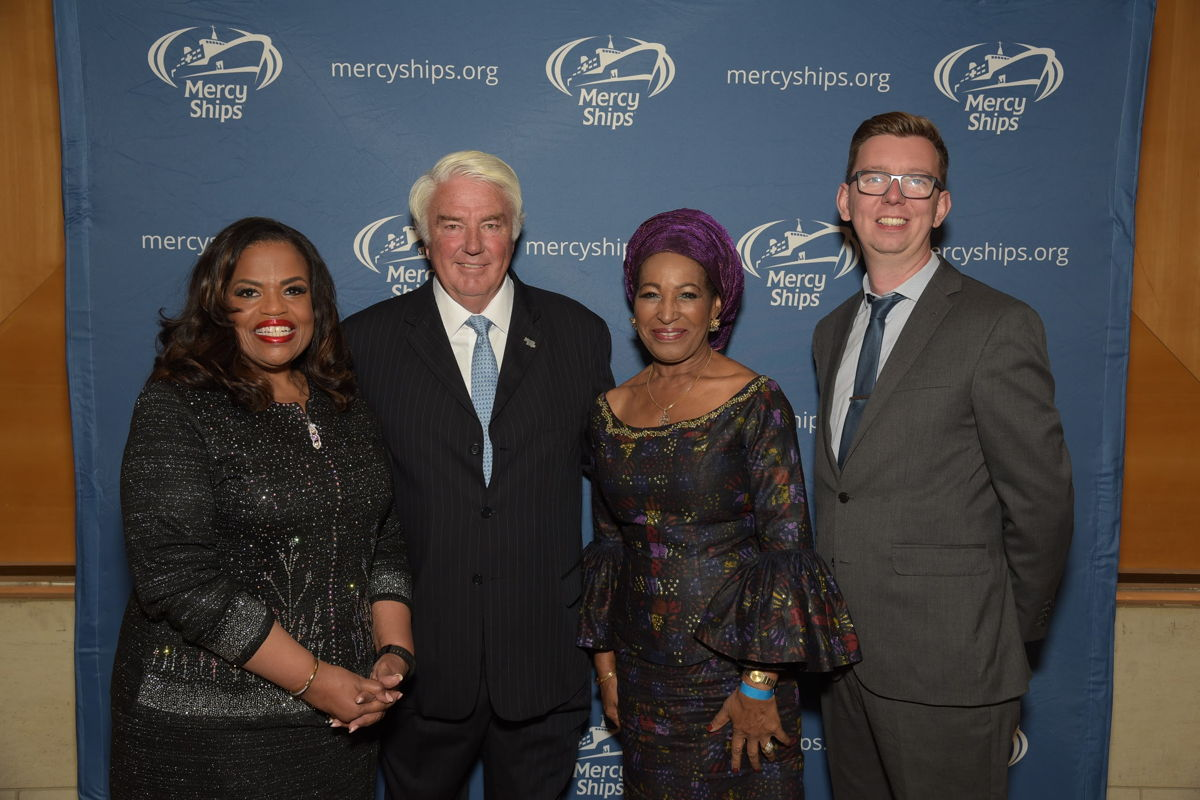 Left to right: Rosa Whitaker, Mercy Ships president; Don Stephens, Mercy Ships founder; board member Juliette Tuakli; and UK National Director Lea Milligan.
