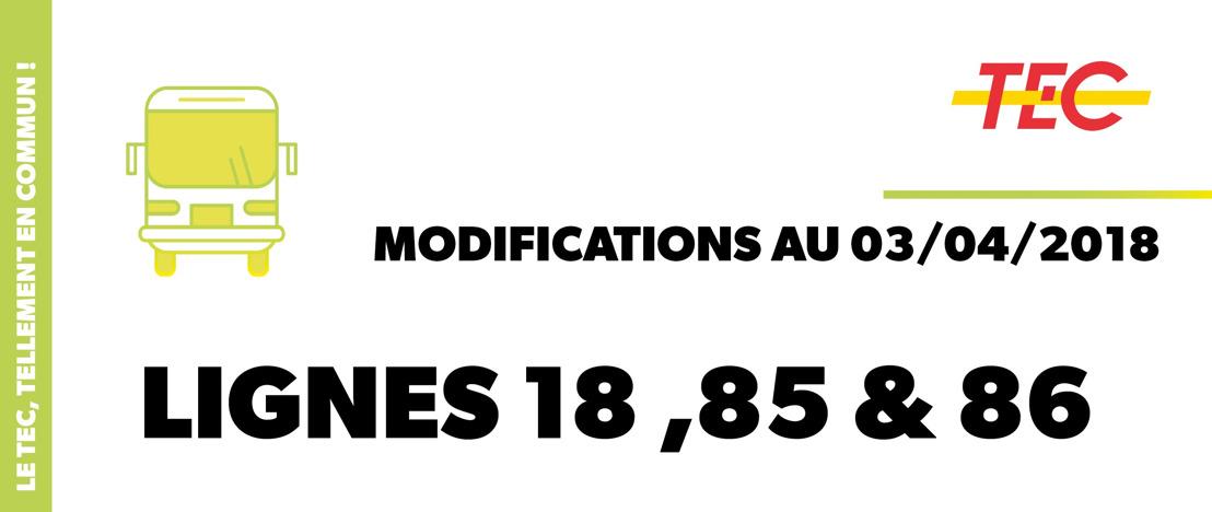 Modifications sur les lignes 18, 85 et 86 à partir du 3 avril 2018