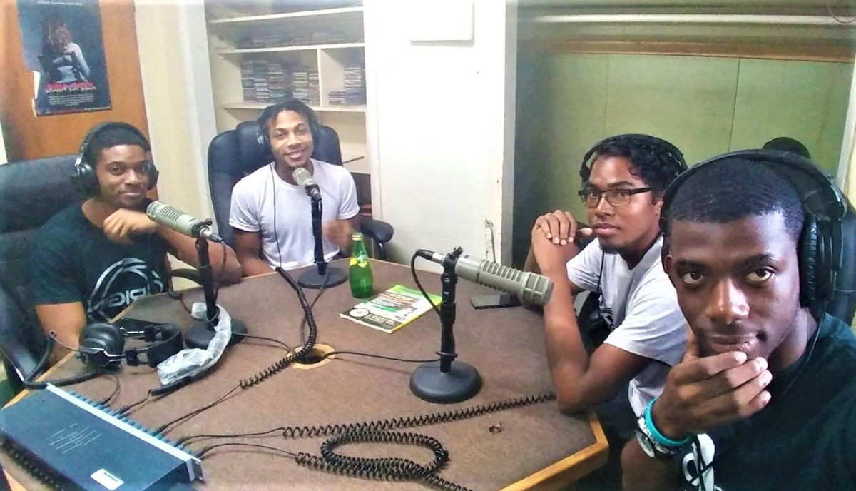 4th Dymension Team live on ZJB Radio speaking about the Plymouth Recreation Project (From left to right: Jhovan Daniel, Jerely Browne, Dexter Small, Carlon Braithwaite)