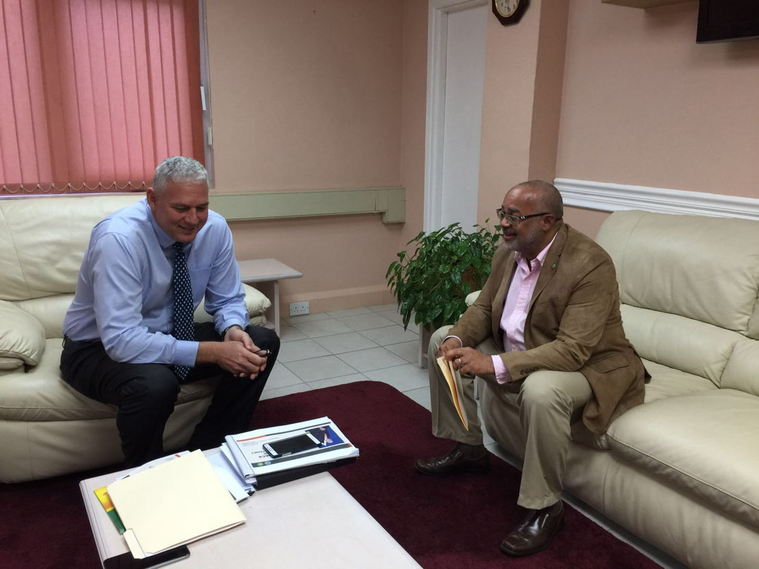 Prime Minister Chastanet welcomes OECS Director General Dr. Didacus Jules for joint discussions.