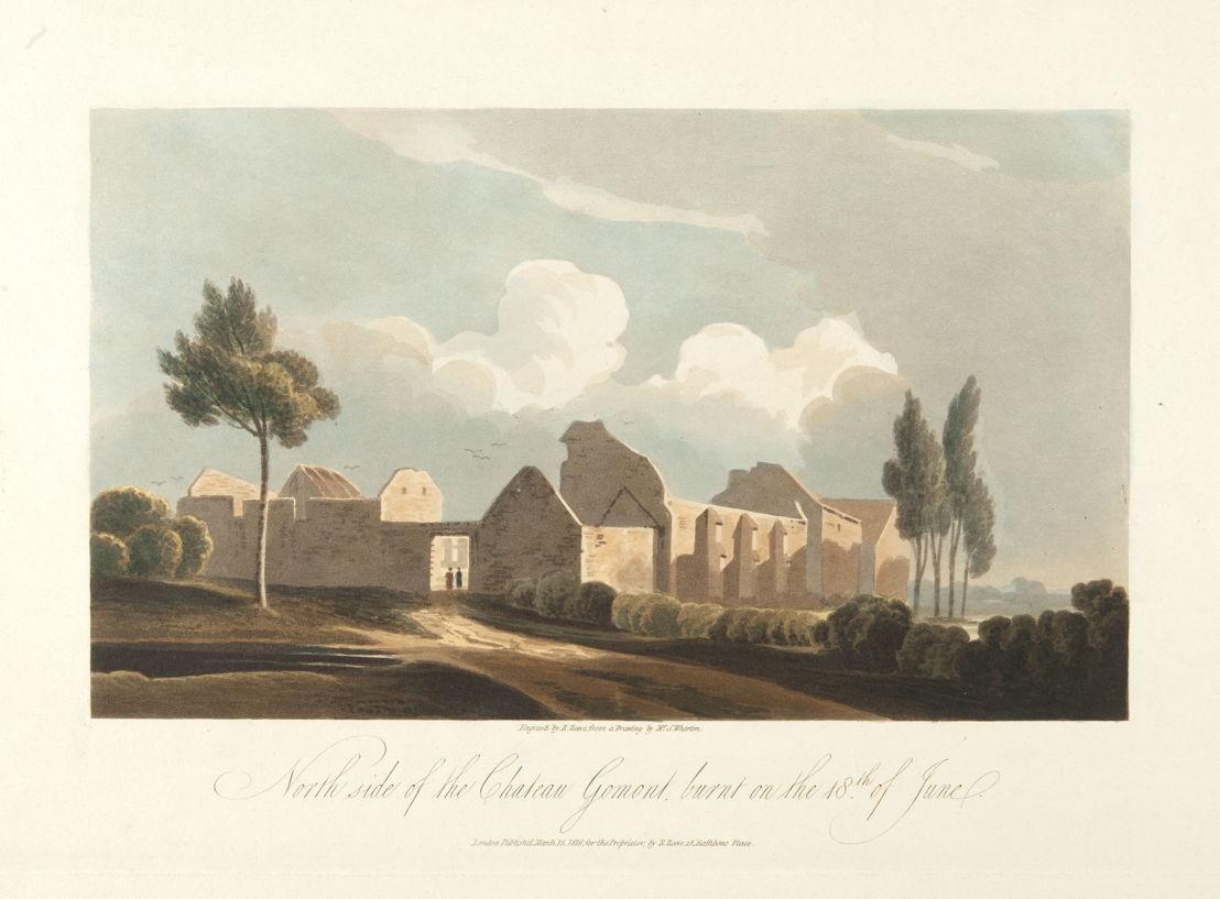De la série « engraved by R. Reeve » : la ferme-château d'Hougoumont a été durement touchée durant les combats<br/>© Bibliothèque royale de Belgique