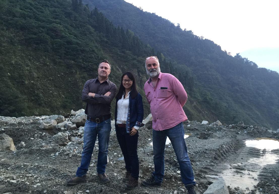 Stephen McDonell, producer Zhang Qian & cameraman Wayne McAllister