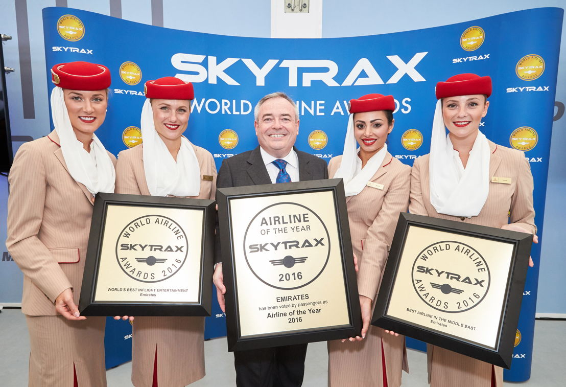 Emirates was today named the World's Best Airline 2016 at the prestigious Skytrax World Airline Awards 2016, in addition to scooping up the awards for World's Best Inflight Entertainment for a record 12th consecutive year, and Best Airline in the Middle East.
