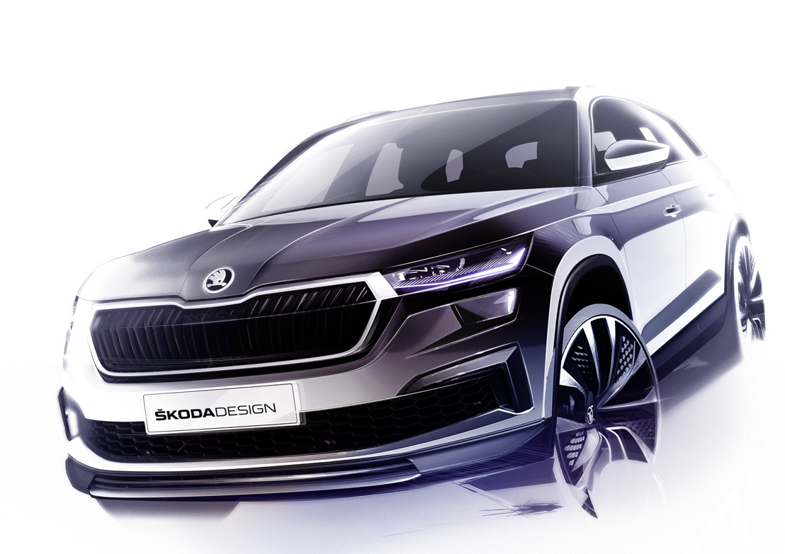Three design sketches offer a first glimpse of the revised ŠKODA KODIAQ