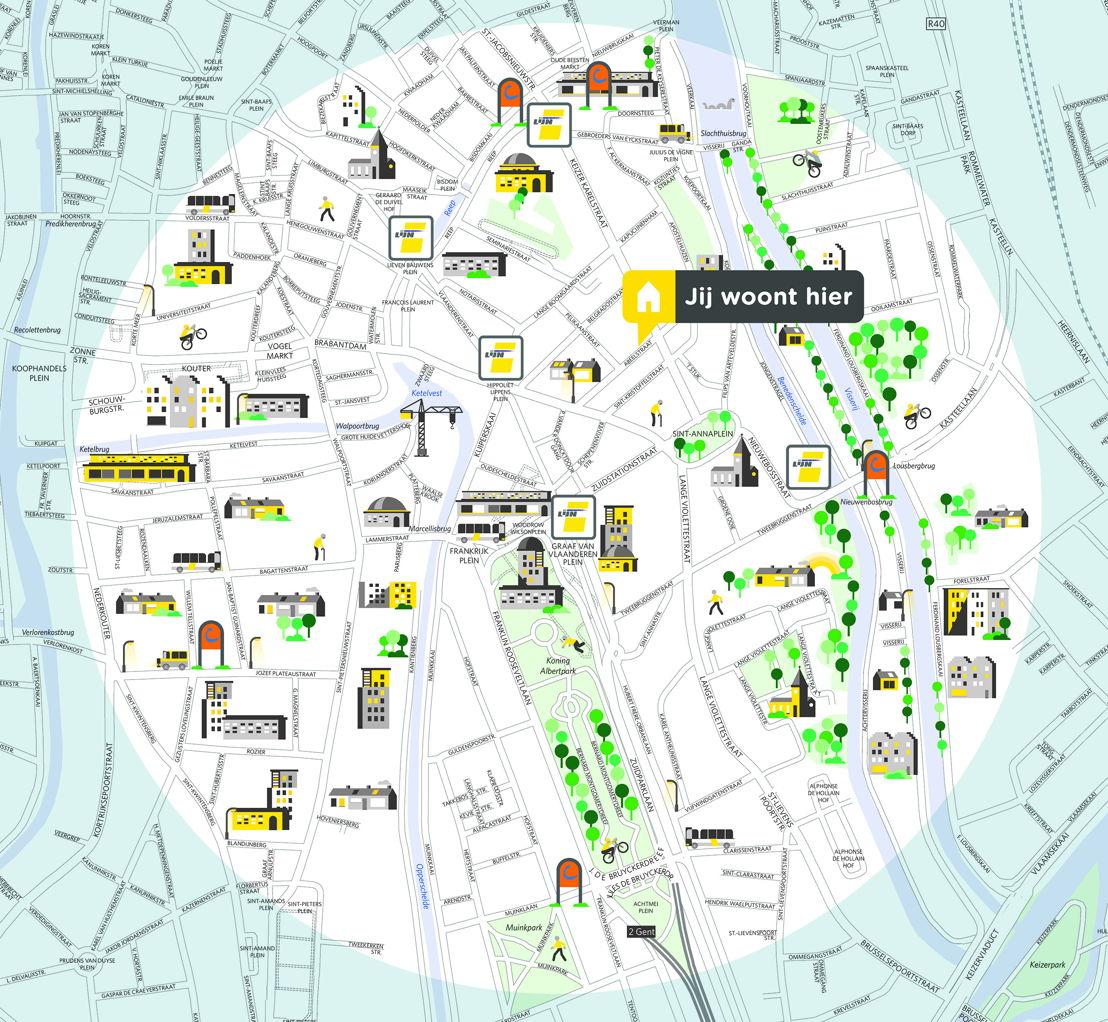 Groene Mobizone 'Zuid' in Gent. Dit kaartje toont alle bus- en tramhaltes van De Lijn en autodeelstations van cambio in deze buurt.