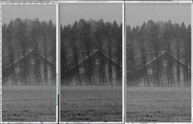 Magnifications of 3 scans of the same negative. Left: Epson 4990 with OEM negative holder. Middle: Epson 4990 with negative mounted emulsion down on 7mm glass with 1.2mm anti-newton ring glass over. Right: MicroTek ArtixScan 120TF with OEM glass holder. All scanned at 4000DPI with VueScan. © Børre Ludvigsen, 2009