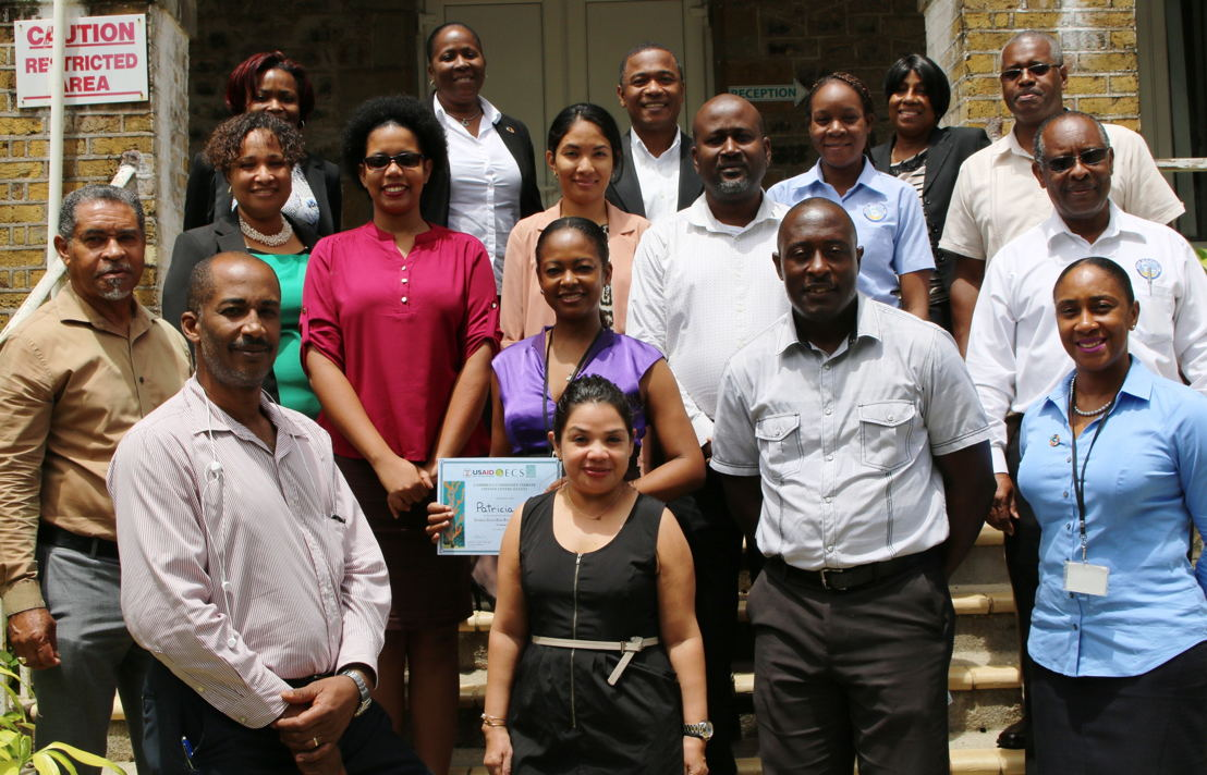 Participants from various sectors of the OECS Commission, including Environmental Sustainability, Project Management, Legal & Health.  External participants included the Caricom Development Fund (CDF) of Barbados.  The training was facilitated by Keith Nicholas, Diana Ruiz & Sharon Lindo of the Caribbean Community Climate Change Centre (CCCCC).