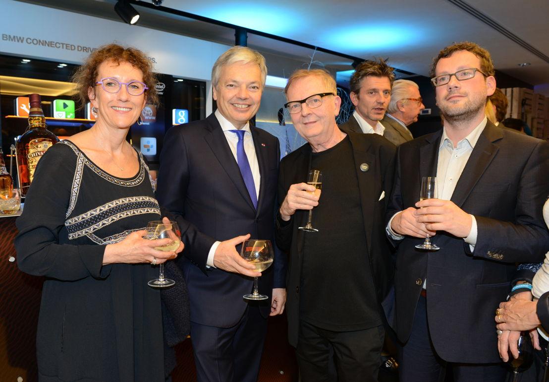 Le Ministre Didier Reynders et son épouse, Michel Henrion Chroniqueur, et Dave Sinardet, Politologue