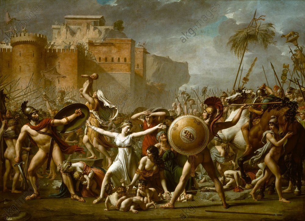 """Image ID: AKG46106<br/><br/>The Sabine WomenDavid, Jacques Louis 1748–1825.<br/><br/>""""The Sabine Women"""", 1799.<br/><br/>(Sabine women and their children, who had been abducted by the Romans, interceding in the battle of the Romans and Sabines, in the hopes of peace).<br/><br/>Oil on canvas, 386 × 520cm.<br/>Paris, Musée du Louvre."""