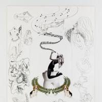 De extatische opname (2017)<br/>Uit de reeks collagetekeningen ter voorbereiding van Jan Fabres altaarstukken in de Sint-Augustinuskerk/AMUZ <br/>Potlood en collagetechniek<br/>60 x 42,2 cm