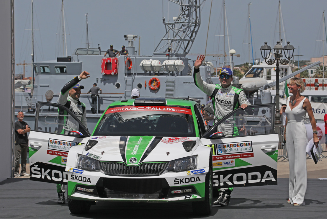 Rally Italia Sardegna: Double for ŠKODA in WRC 2 – Jan Kopecký wins ahead of teammate O.C. Veiby
