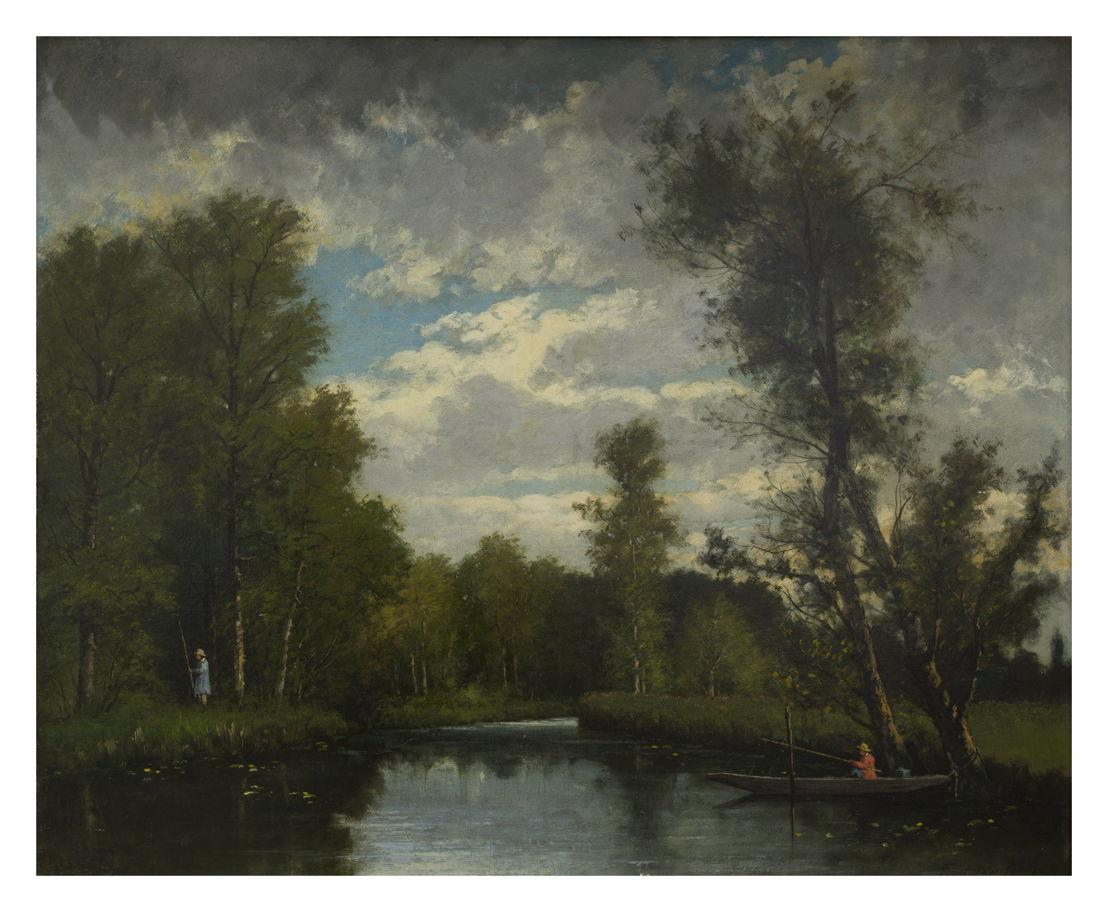 Hippolyte Boulenger, Hengelen in een bebost rivierlandschap, vzw De Vrienden van de School van Tervuren © Isabelle Arthuis