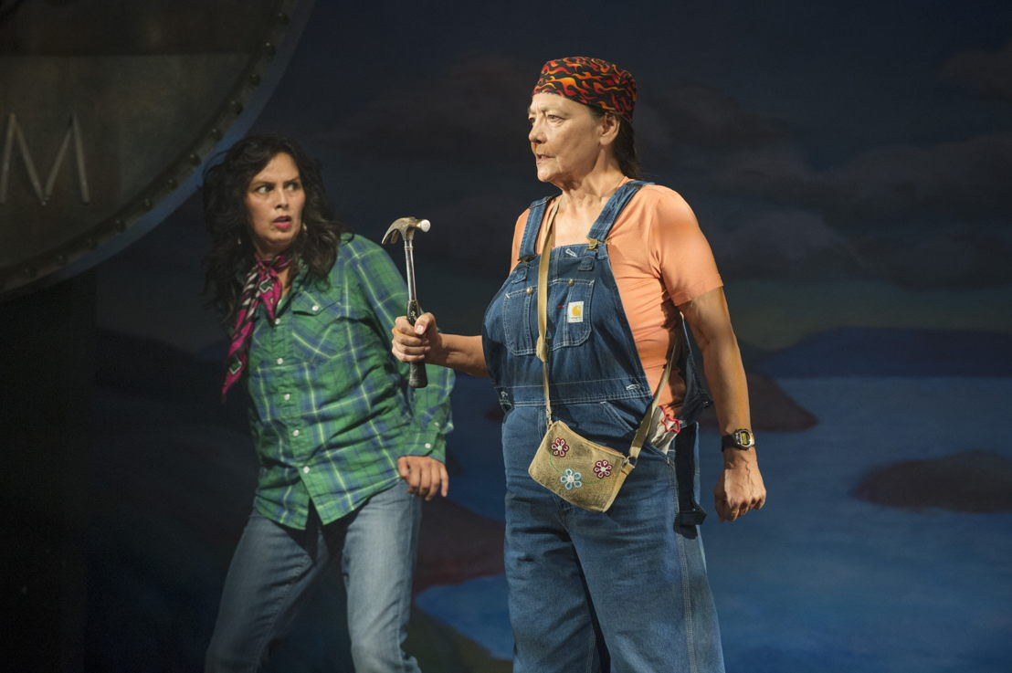 "Lisa C. Ravensbergen (as Annie Cook) and Tantoo Cardinal (as Pelajia Patchnose) in The Rez Sisters by Tomson Highway / Photos by David Cooper / <a href=""http://www.belfry.bc.ca/the-rez-sisters/"" rel=""nofollow"">www.belfry.bc.ca/the-rez-sisters/</a>"
