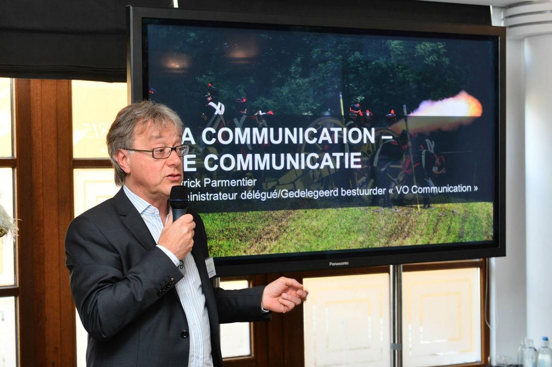Waterloo 2015 - Patrick Parmentier, gedelegeerd bestuurder van Voice en VO Communication presenteert communicatiestrategie aan de pers