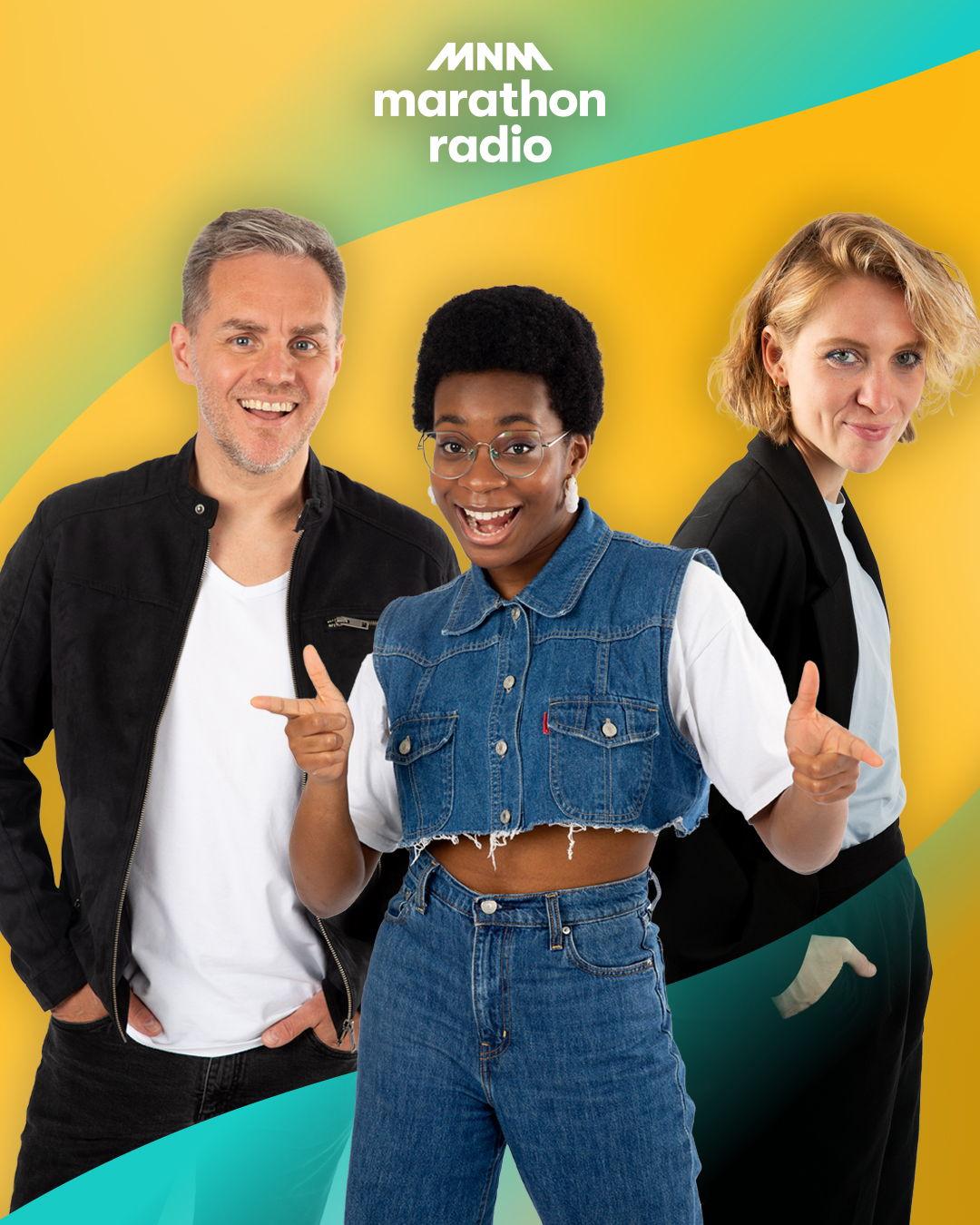 Peter Van de Veire, Dorianne Aussems en, voor het eerst, Esther Nwanu presenteren Marathonradio 2021.