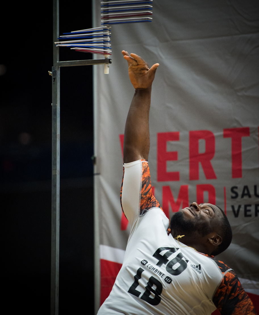 Alex Ogbongbemiga during his vertical test at National CFL Combine presented by adidas. (CFL/Johany Jutras)