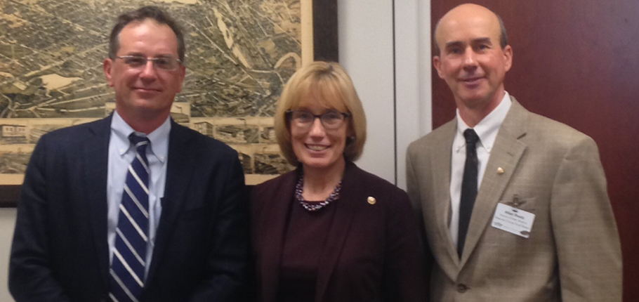 Roger Noonan (left) and Allan Reetz join New Hampshire Senator Maggie Hassan for dicussions of food security.
