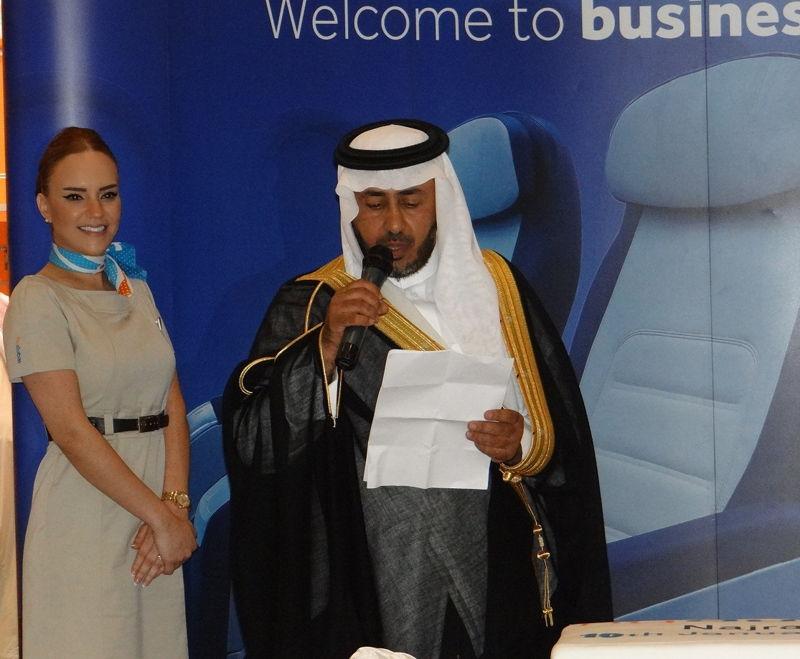 Mohamed Al Qahtani, Director of Nejran Airport , welcoming flydubai to Nejran