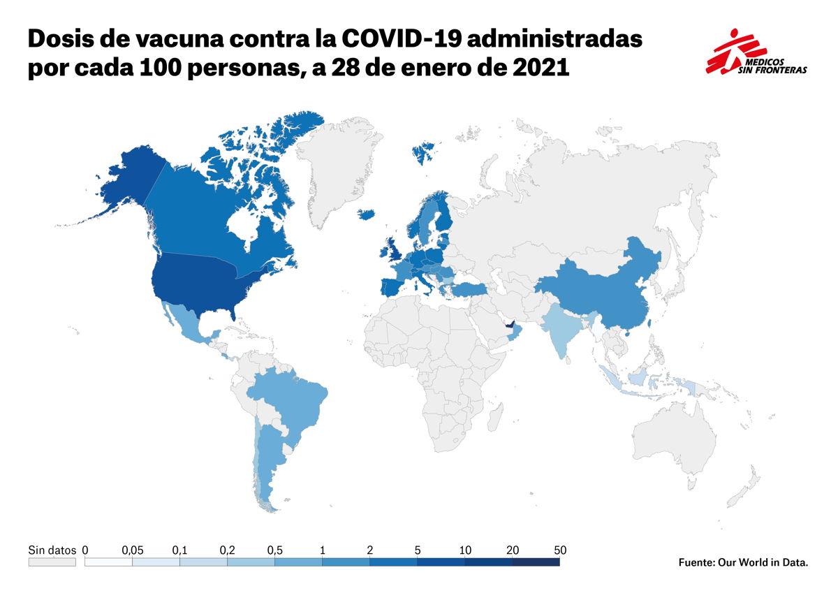 Dosis de vacuna contra la COVID-19 administradas por cada 100 habitantes. Fuente: Our World in Data