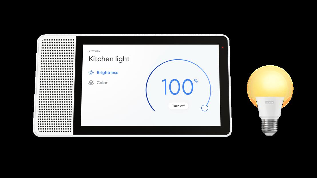 Lenovo Smart Display with Lenovo Smart Bulb