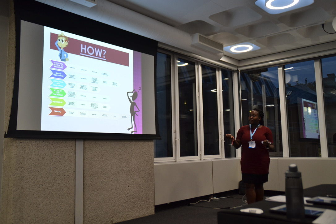 Jasmine presenting her pitch in London.