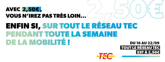 Voyagez sur le réseau TEC pour 2.5€ durant la Semaine de la Mobilité !