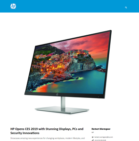 HP Opens CES 2019 with Stunning Displays, PCs and Security Innovations