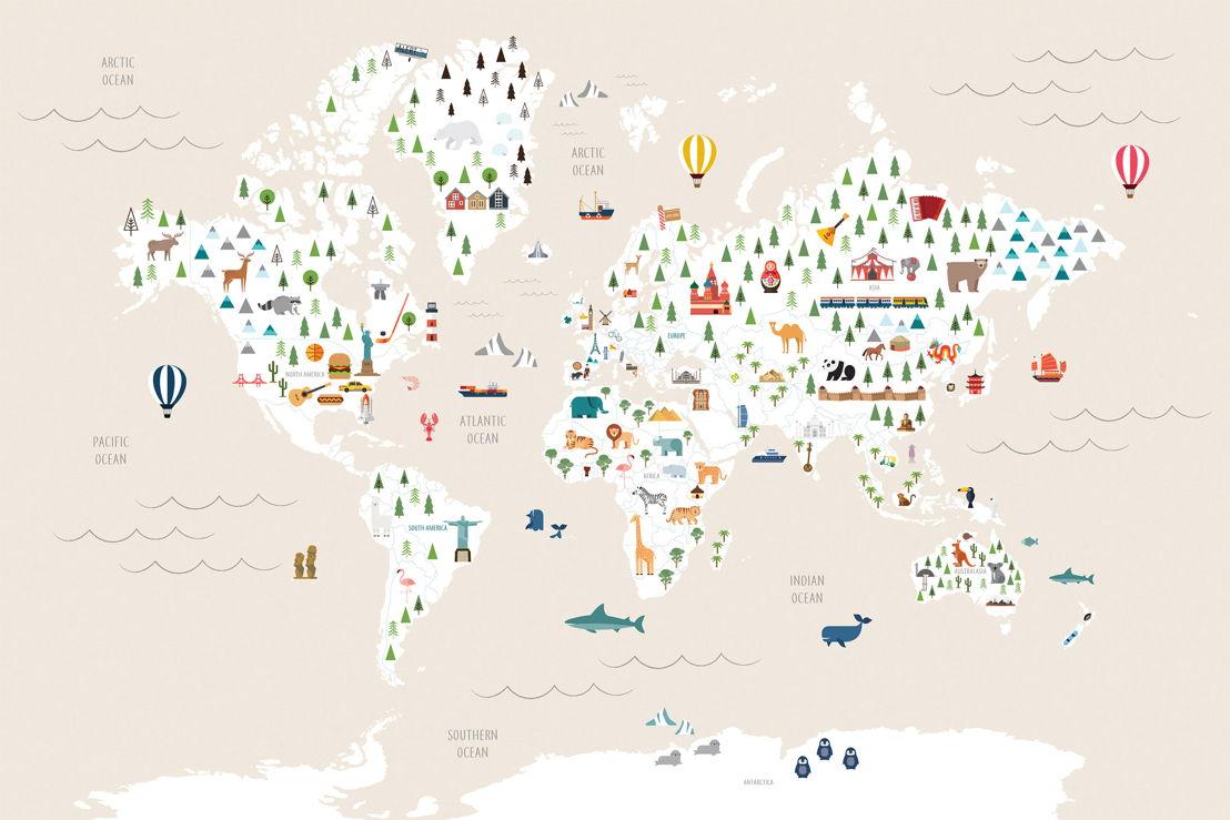 Cream Ultimate Kids Map Wall Mural