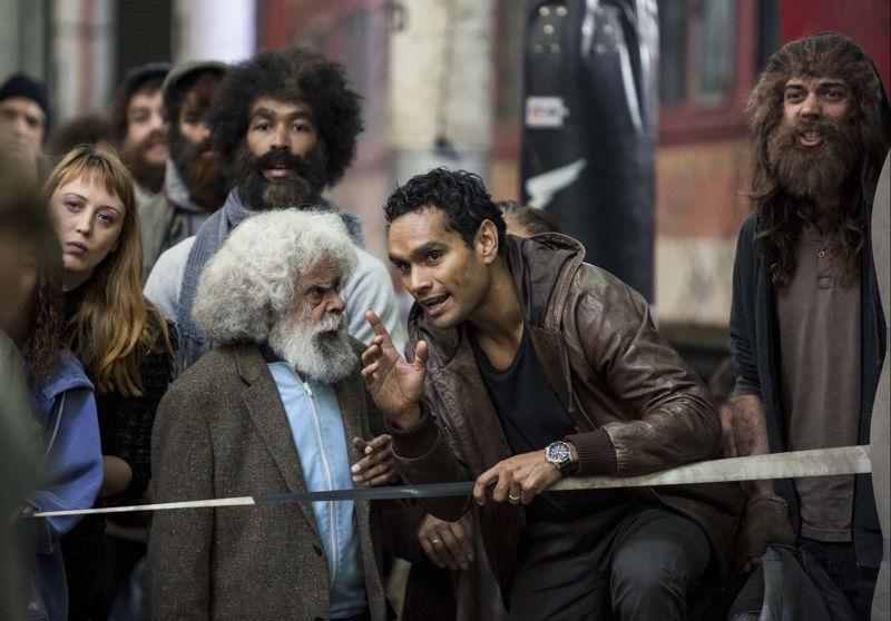 Uncle Jimmy (Jack Charles) talks to Waruu West (Rob Collins)