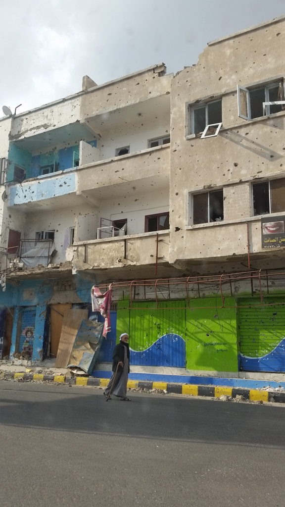 Bullet-riddled buildings in Taiz, Yemen. Taiz has been under siege since August 2015. Photo taken in January 2016. Credit: MSF