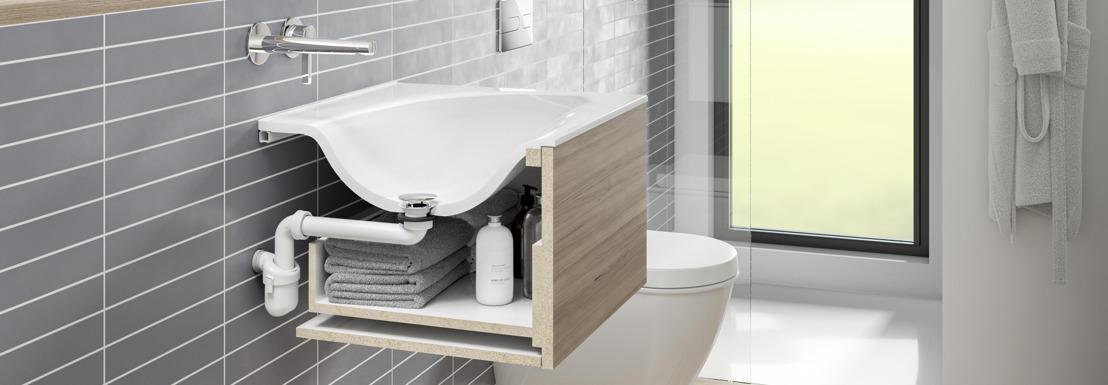 Nieuwe ruimtebesparende sifon van Viega maakt wastafel van onderaf toegankelijk