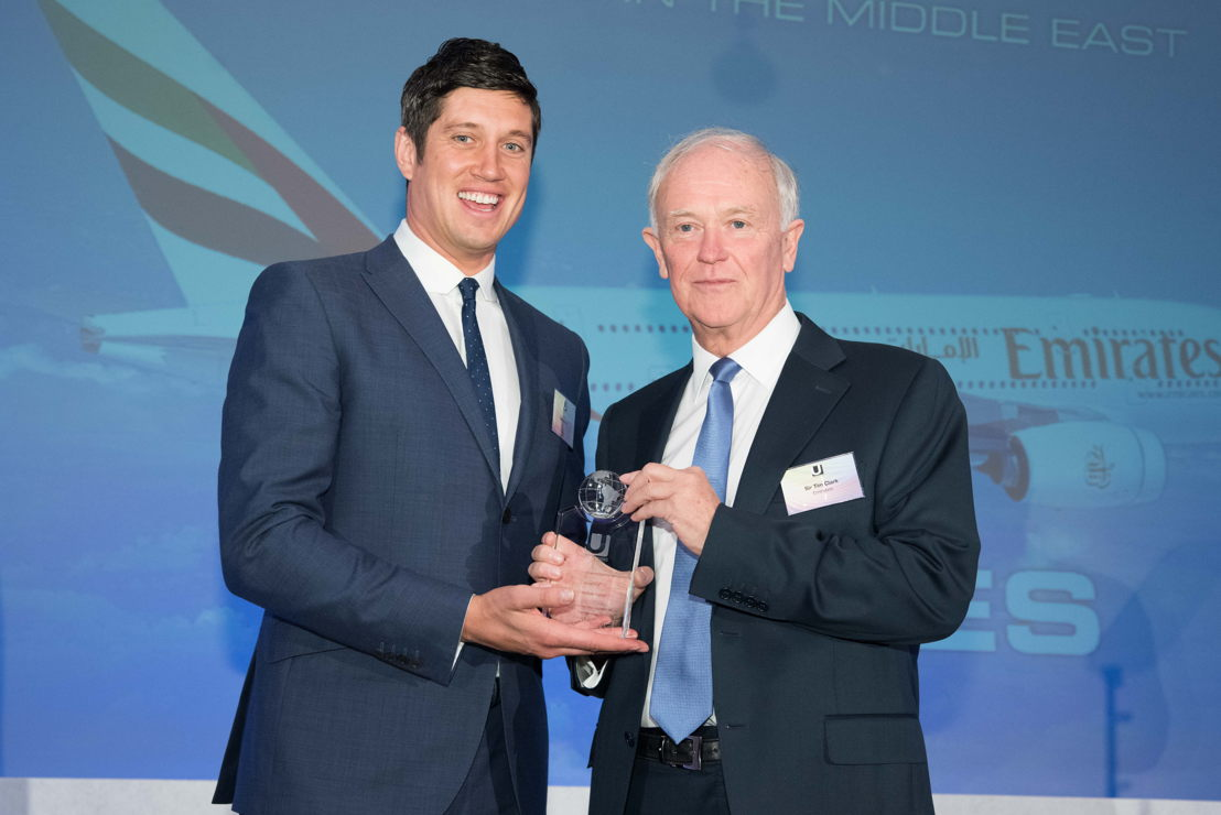 Television and radio presenter Vernon Kay with Sir Tim Clark, President Emirates airline