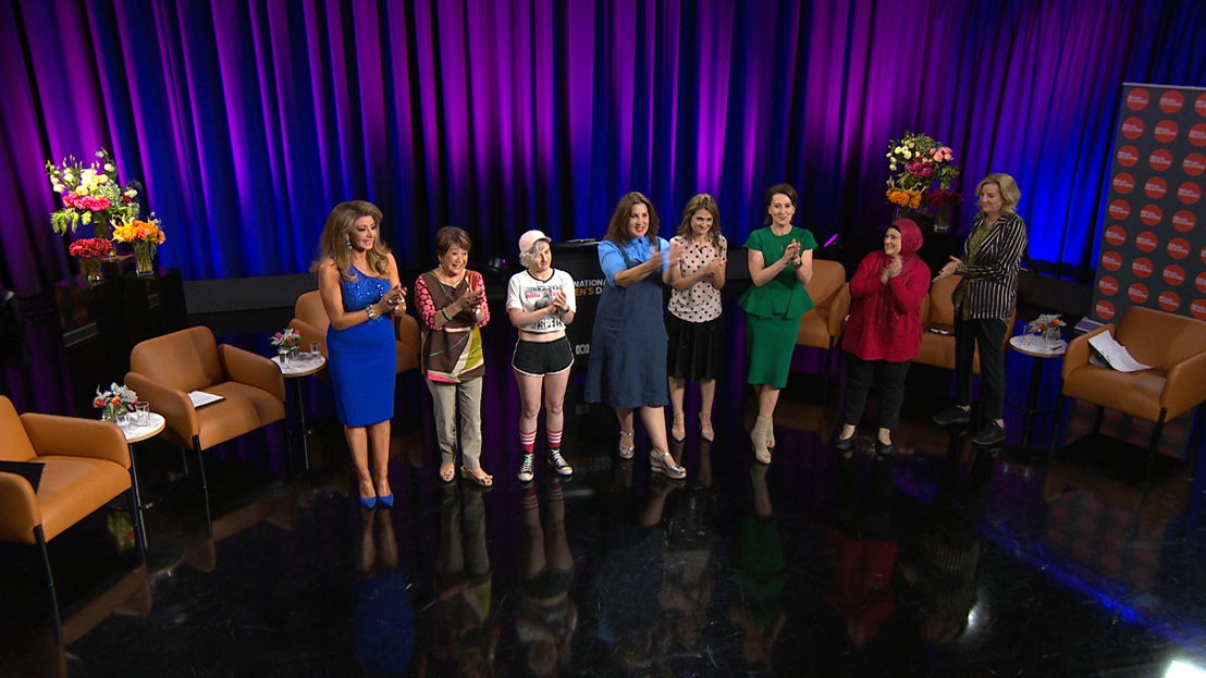 On stage at the 2018 ABC IWD All Star Comedy Debate (L-R) Gina Liano, Elizabeth Chong, Demi Lardner, Libbi Gorr , Patricia Karvelas, Virginia Trioli, Frida Deguise and Jean Kittson